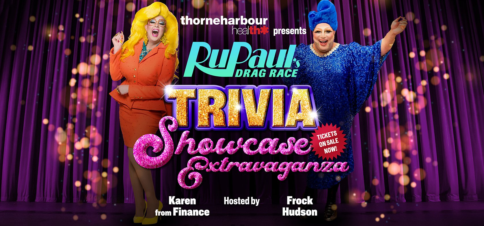 RuPauls Drag Race Trivia Banner with Karen from Finance and Frock Hudson