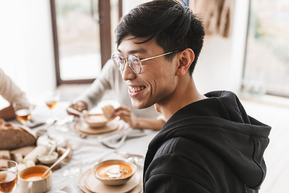 Asian Man with soup