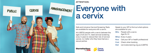 "Postcard from Public Cervix Announcement campaign, featuring three people holding signs reading ""Public Cervix Announcement"""