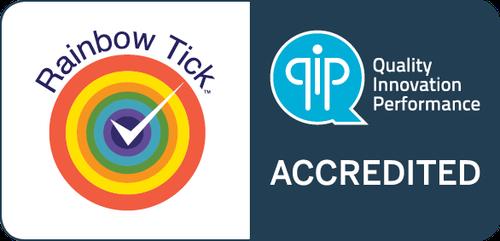 QIP - Rainbow Tick Accredited Symbol