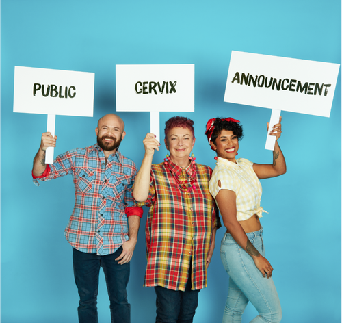 Public Cervix Announcement Signs Held by Community members